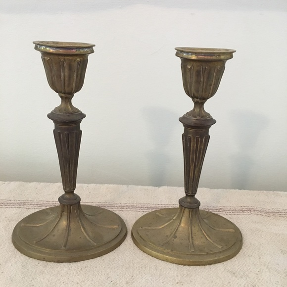 Vintage Heavy Pair of Brass Candle Stick Holders